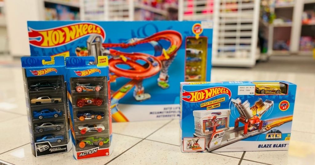 Hot wheels sets on store floor