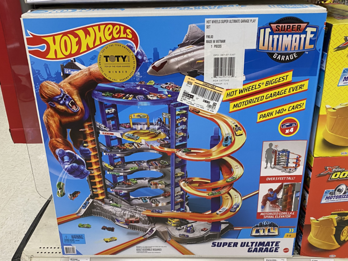large car playset on store shelf