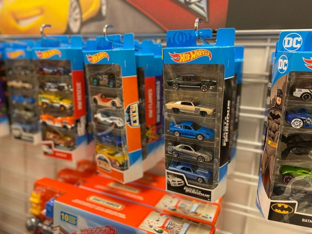 hot wheels packs hanging in store
