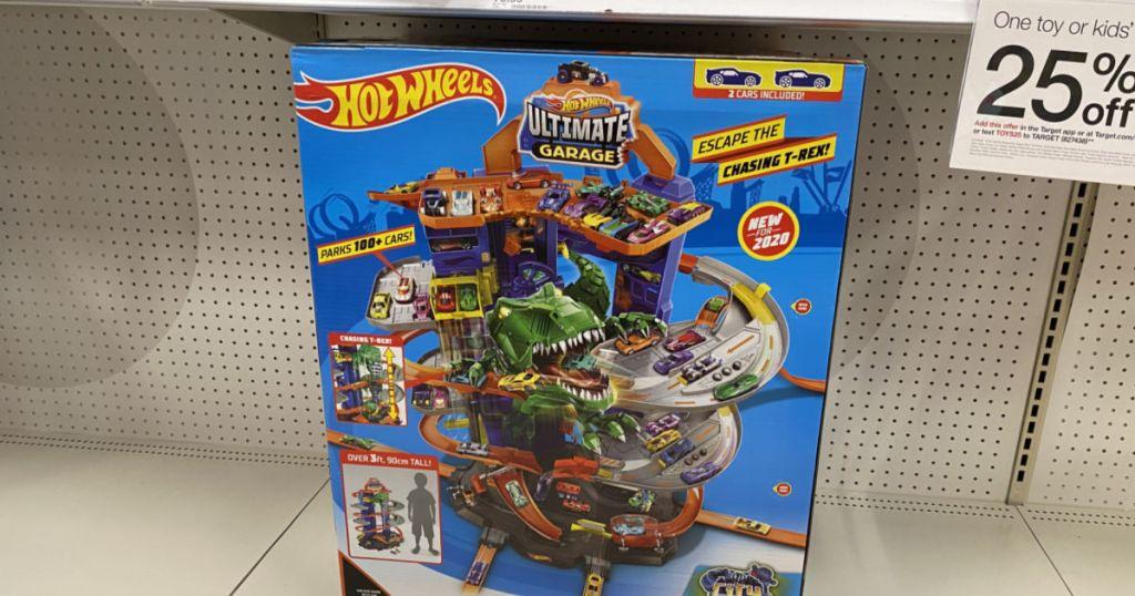 toy car garage on shelf