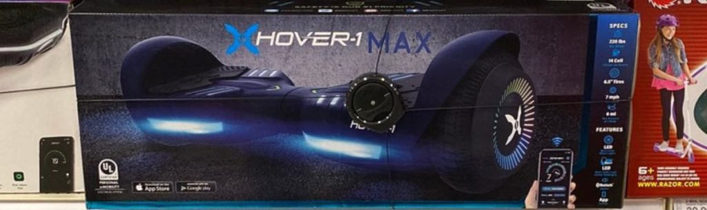 scooters and hoverboards on store shelf