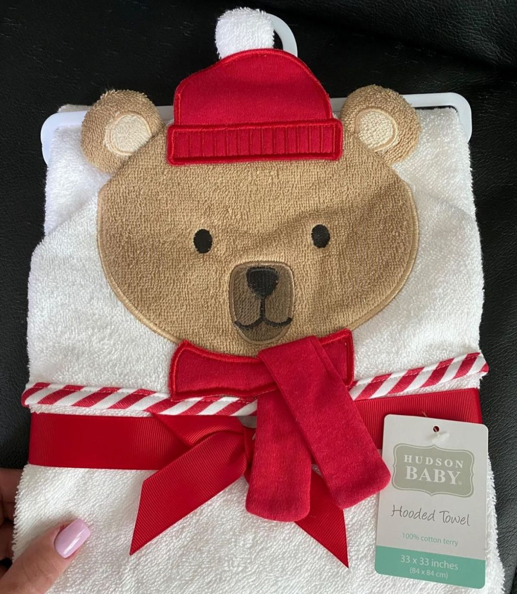 baby towel with a bear on it