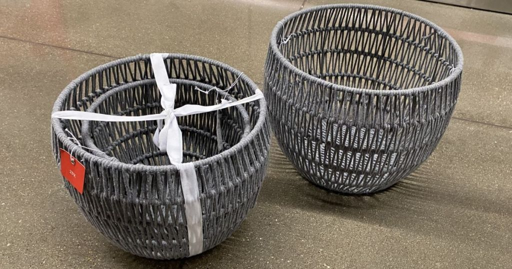two rope baskets
