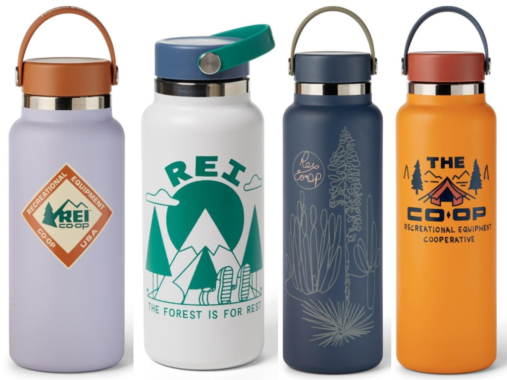 four insulated water bottles