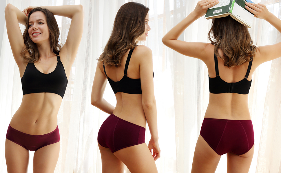 three images of a woman wearing underwear