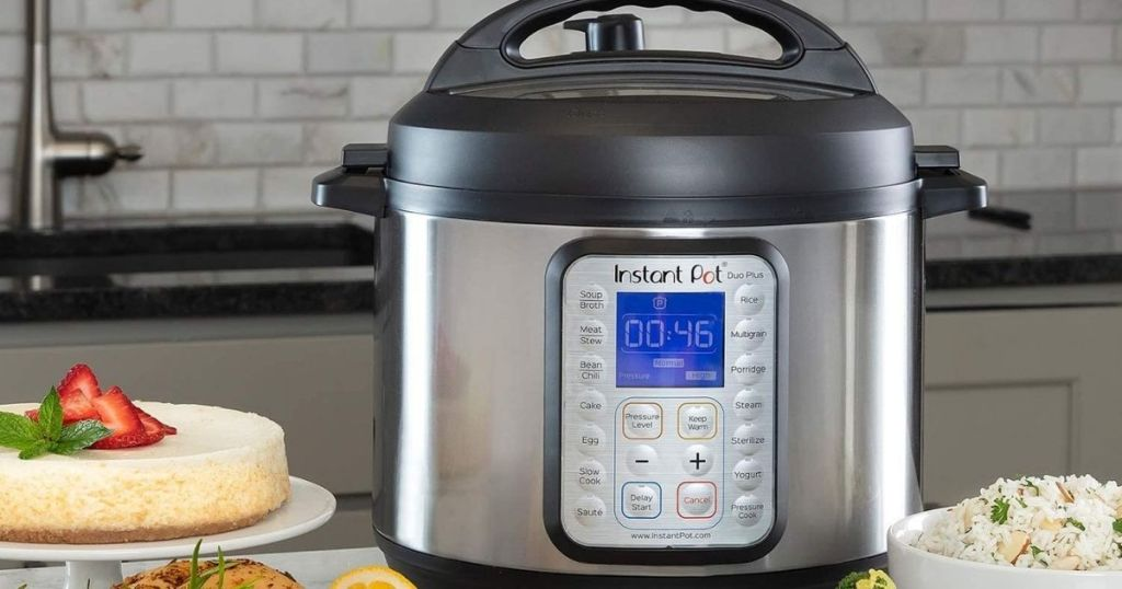 Instant Pot Duo Plus on counter with food
