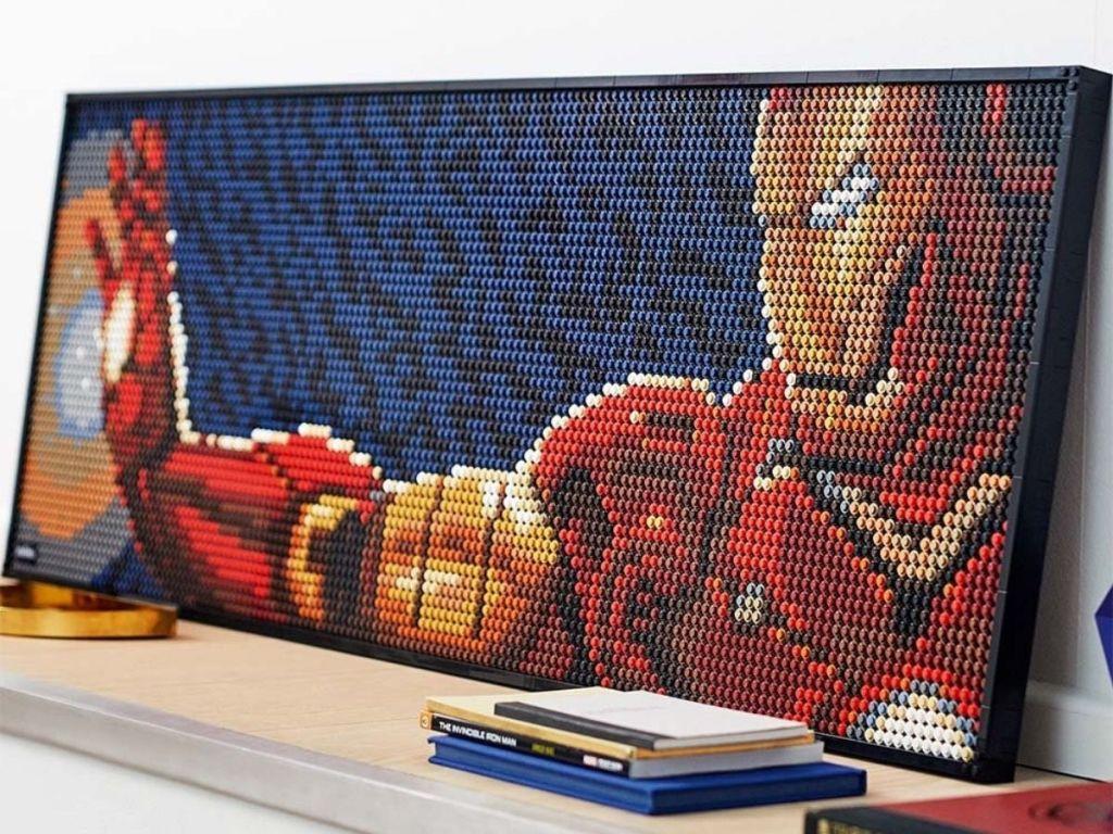 Iron man lego art on mantle