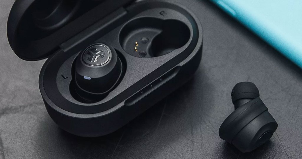 black pair of wireless earbuds in black charging case