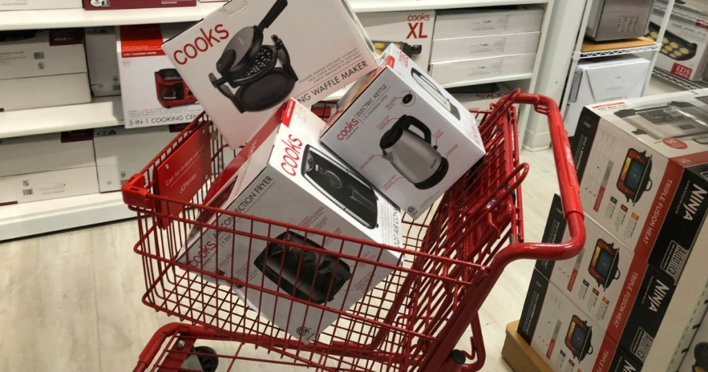 JCPenney shopping cart filled with cooks small appliances