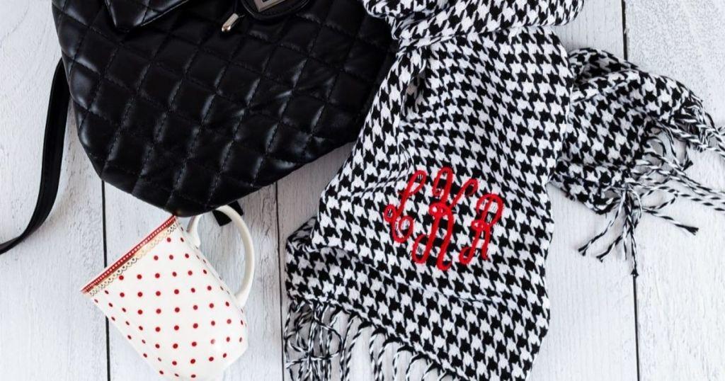 Jane Monogram Scarf black and white check with black purse and coffee mug