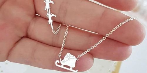 Santa Sleigh & Reindeer Necklace Only $6.99 Shipped | Cute Gift Idea