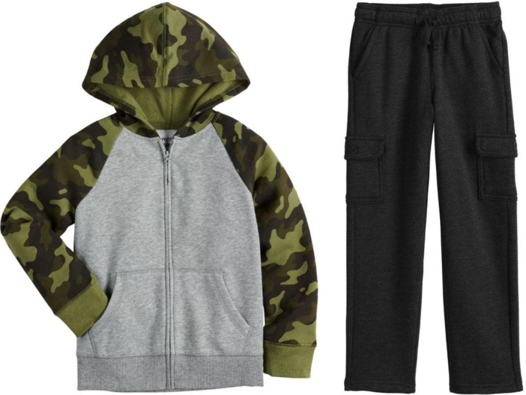jumping beans boys fleece hoodie and pants