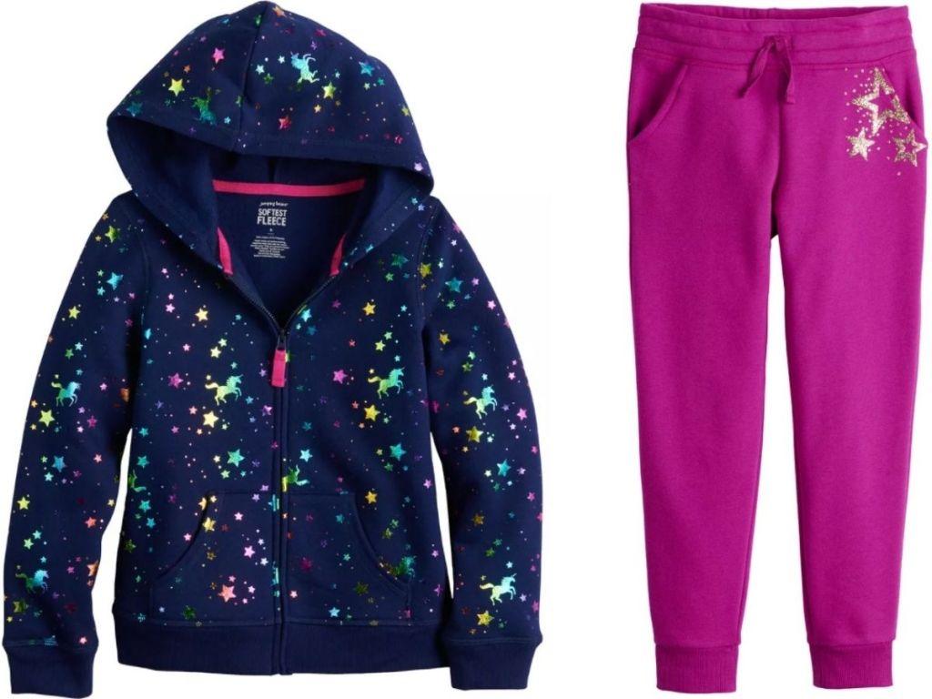Jumping Beans girls fleece hoodie and pants