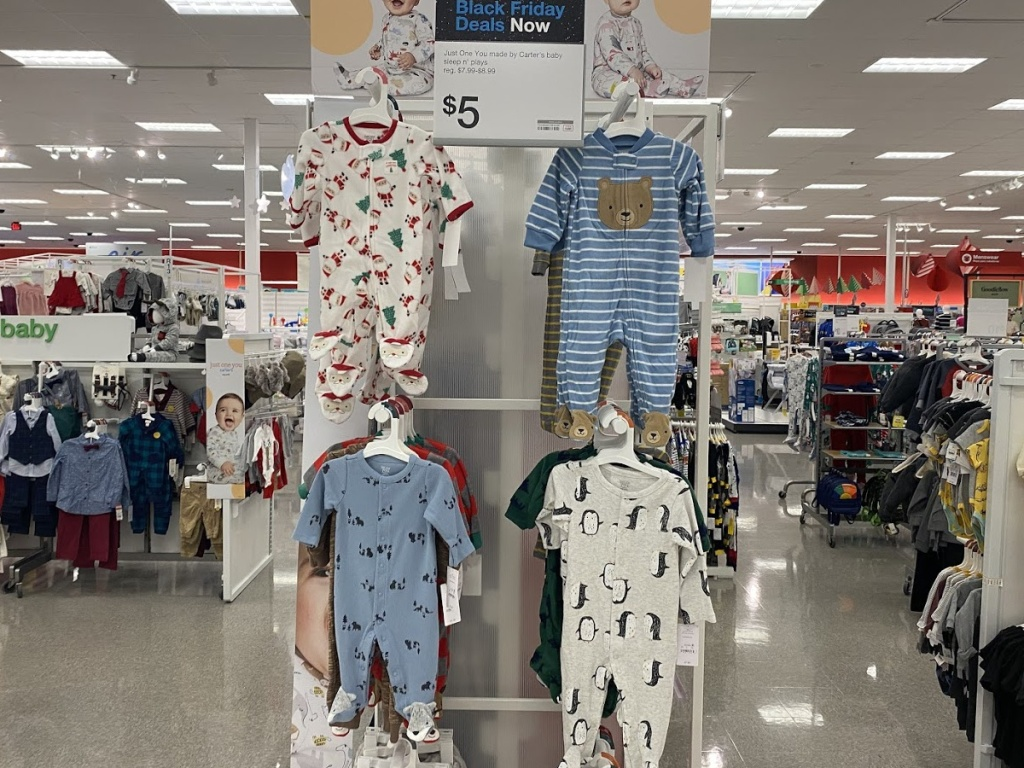 baby onesie pajamas in store