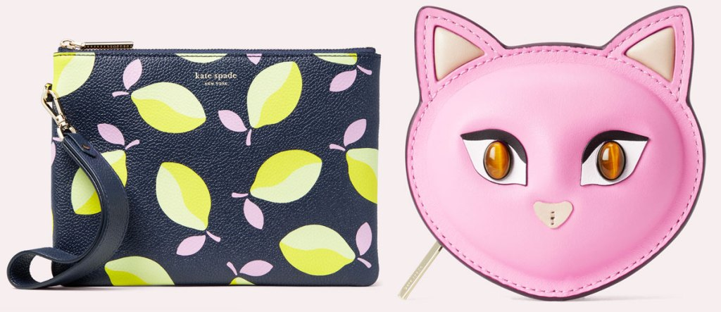 kate spade wristlet with lemon print and cat head shaped pink coin purse