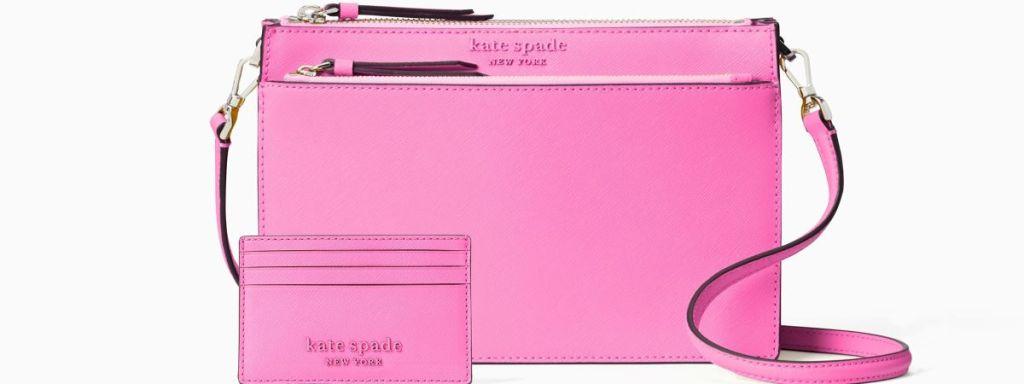 dompet dan dompet Kate Spade merah muda