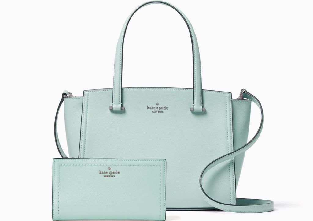 mint colored Kate Spade purse and wallet