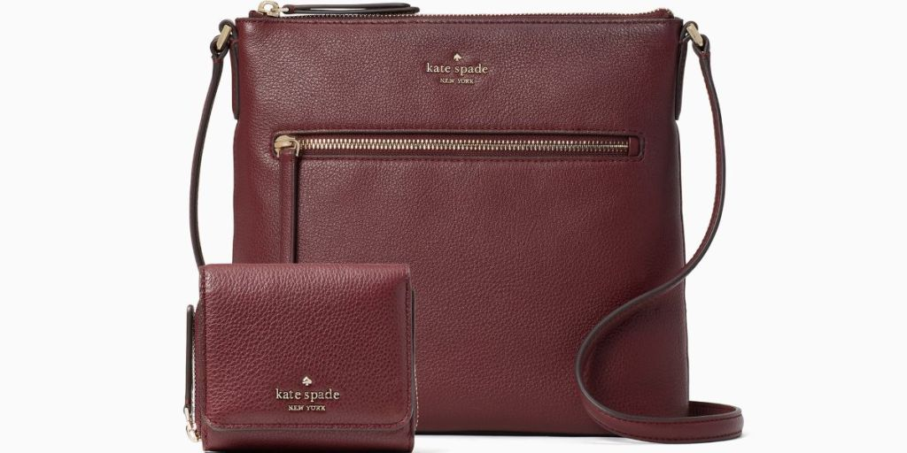 maroon Kate Spade purse and wallet