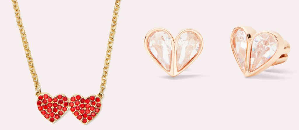 necklace with two red pave hearts next to each other and pair of heart shaped gem earrings