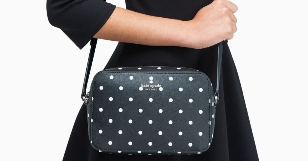Kate Spade Lil Dot Crossbody on female with black dress