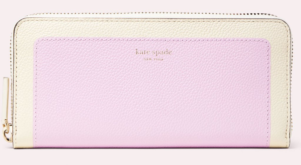 kate spade lilac and white colorblock zip around wallet