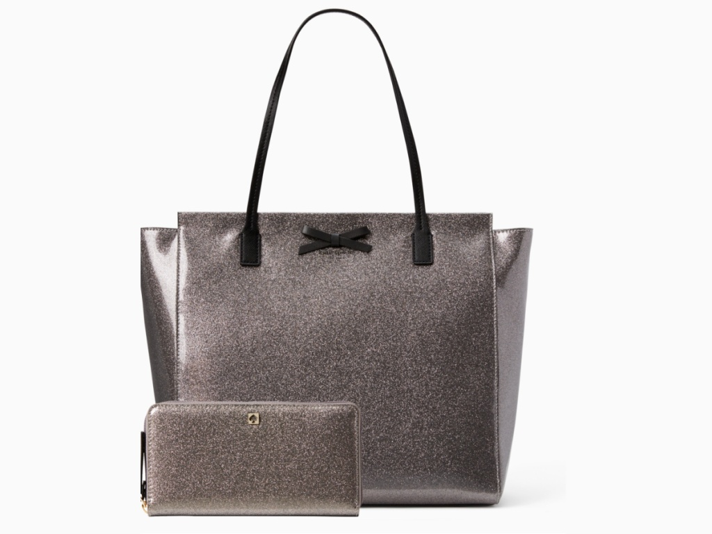 Kate Spade silver sparkly tote bag with black bow and wallet