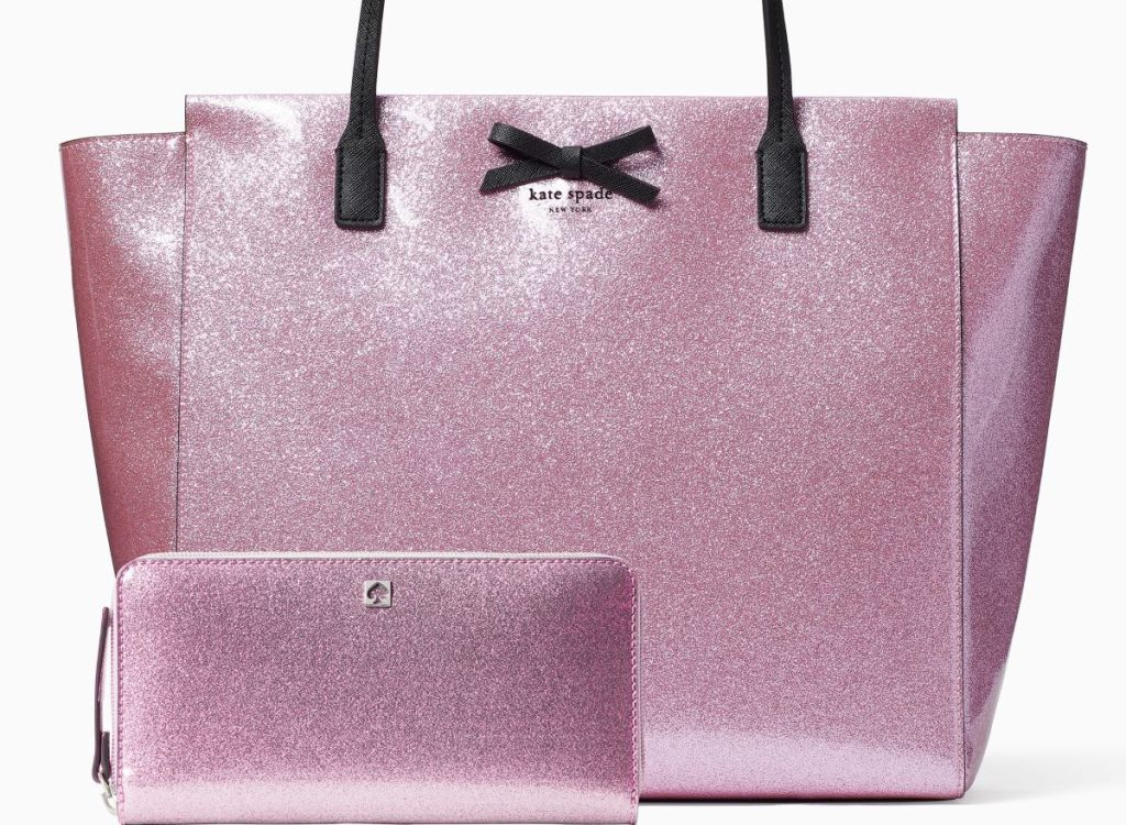 pink Kate Spade tote and wallet