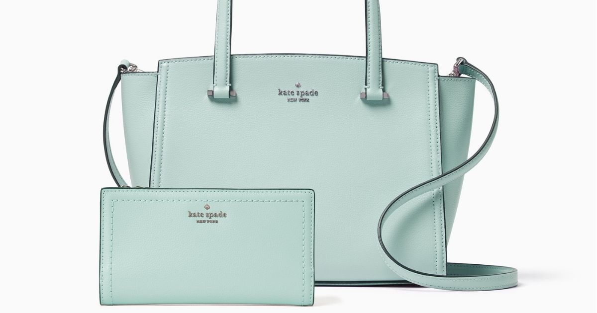 mint green purse and wallet