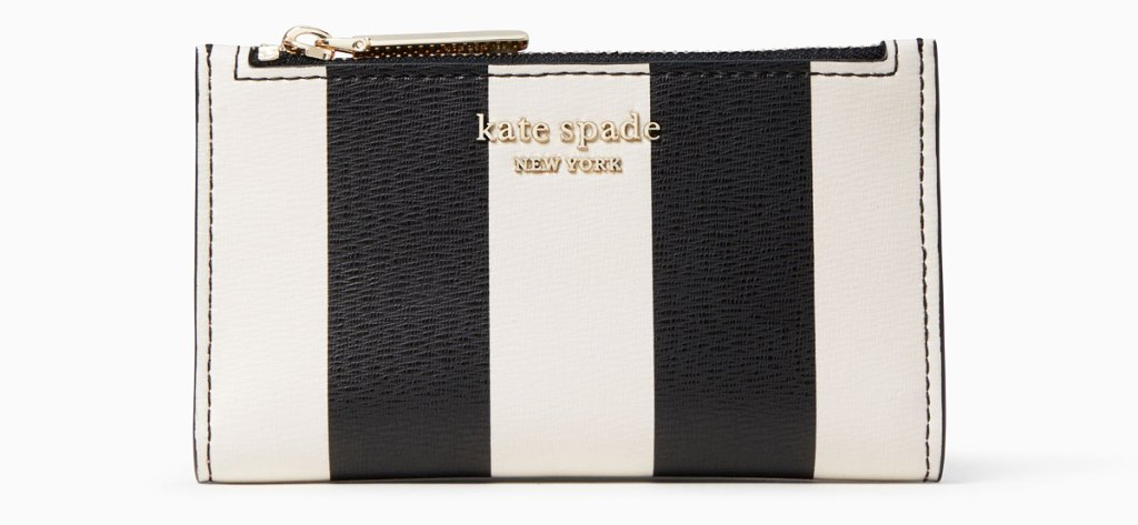 small zip-top wallet with thick black and white vertical stripes