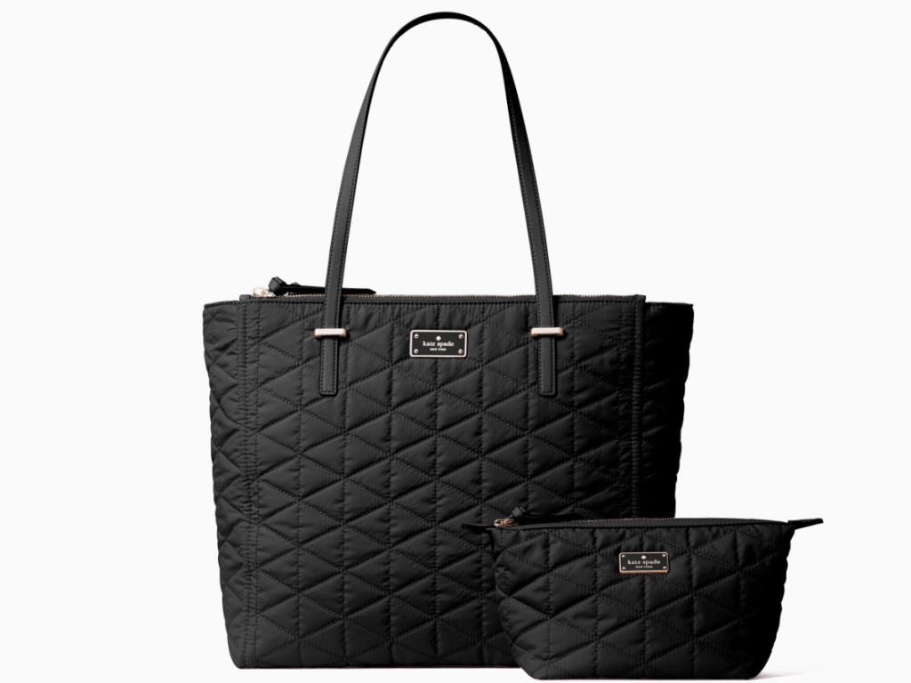 black quilted Kate Spade tote and wallet