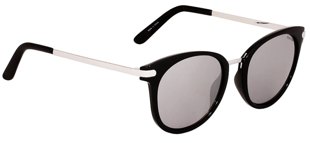 pair of black sunglasses with silver metal arms and grey lenses