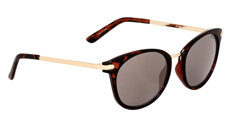 brown tortoise shell sunglasses with gold metal arms and brown lenses