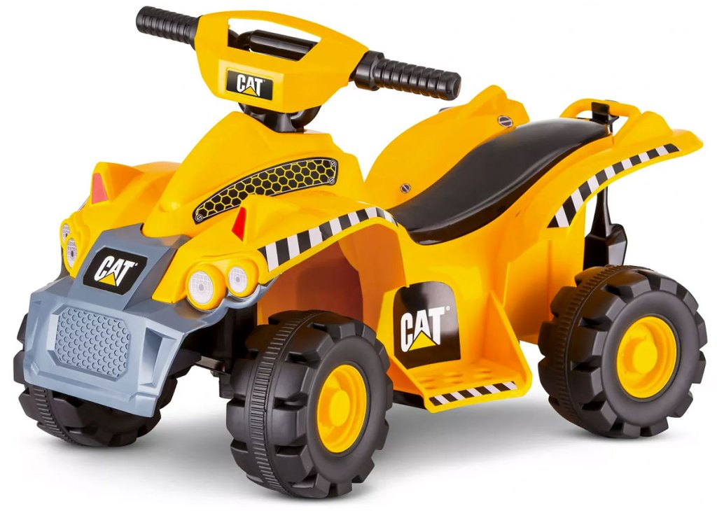 yellow and black CAT tractor themed kids ride-on quad toy