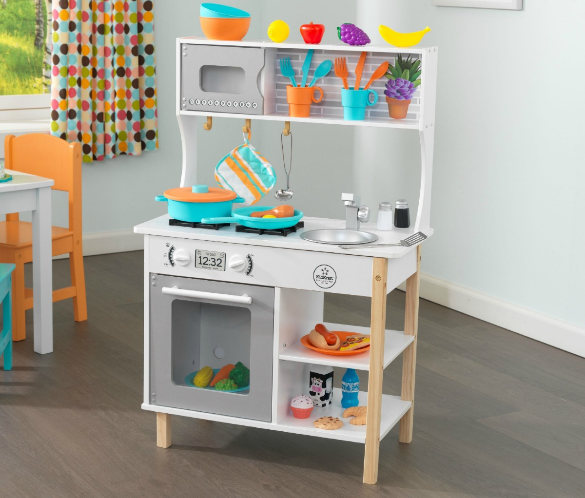 Large wooden play kitchen