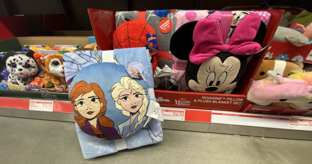 Kids Frozen, Minnie Mouse, and Spider Man blanket and pillow sets in store