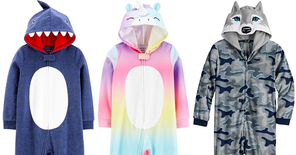 three kids hooded one-piece pajamas in blue shark, rainbow unicorn, and camo print husky styles