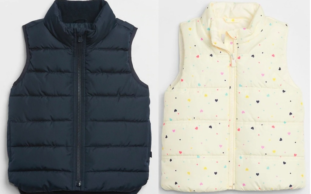 gap vests in blue and hearts