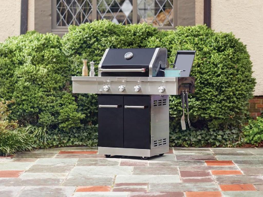 KitchenAid 3-Burner Propane Gas Grill in Black with Ceramic Sear Side Burner