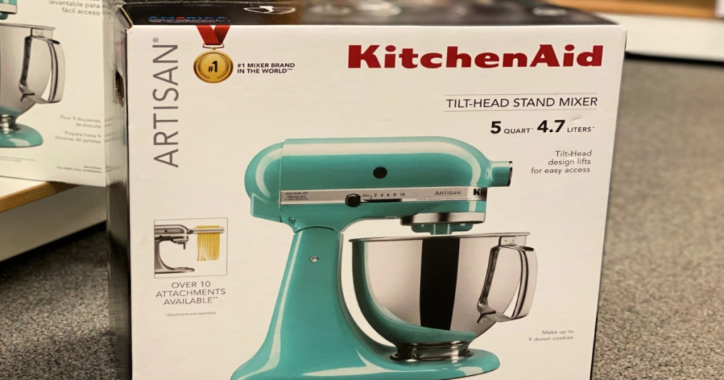 teal stand mixer in aisle