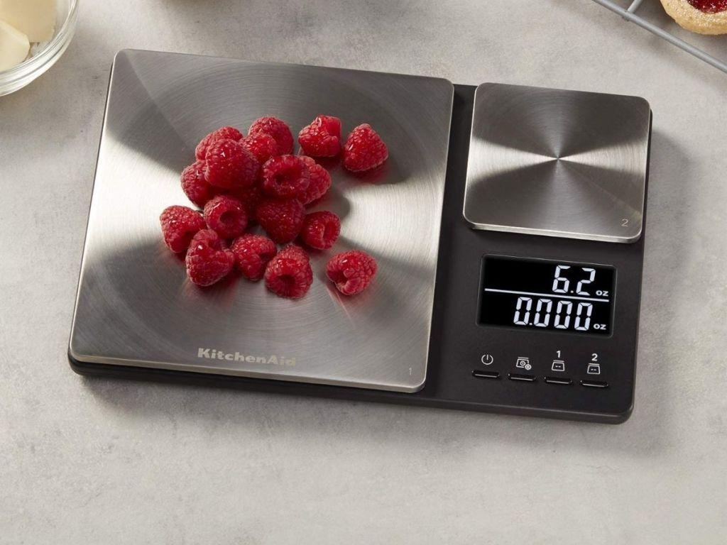 KitchenAid digital scale with raspberries on it
