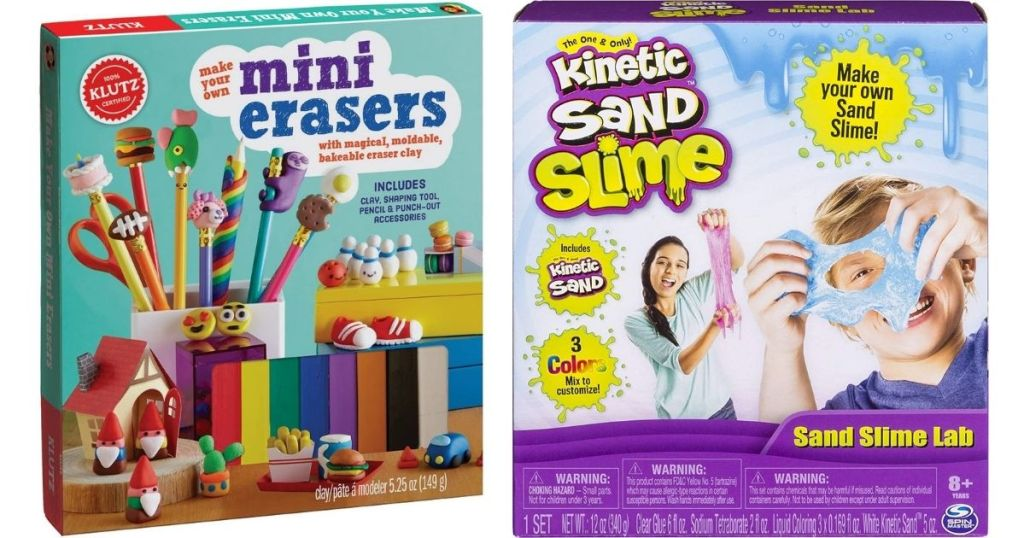 Klutz Mini Erasers and Kinetic Sand Slime activity kits