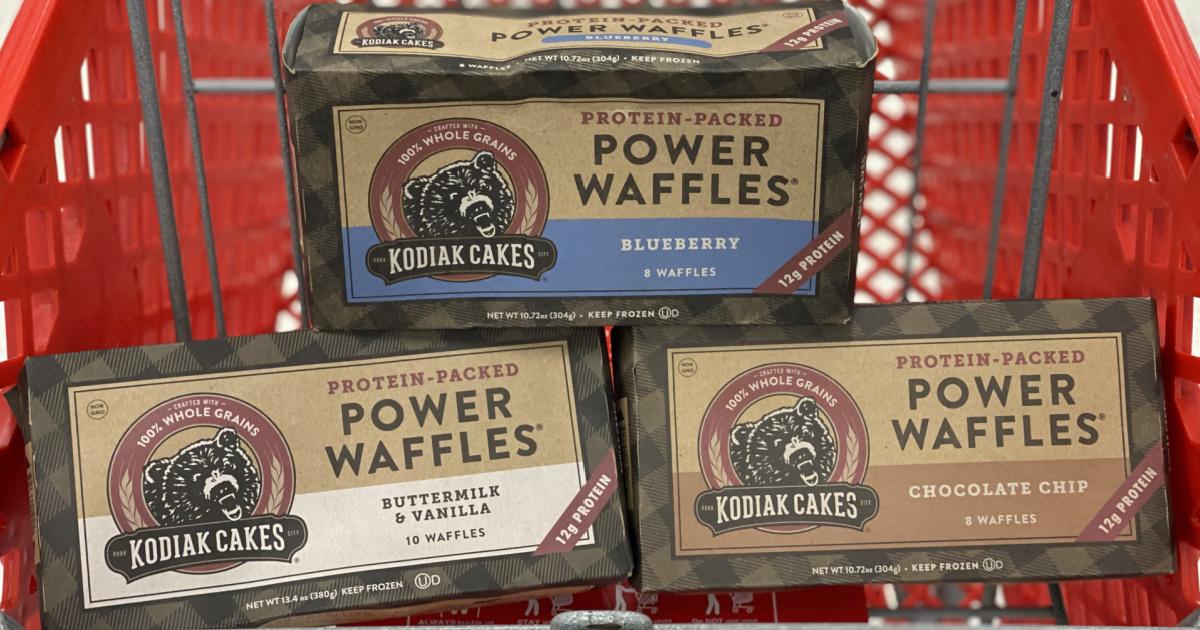 3 boxes of kodiak cakes in a target shopping cart