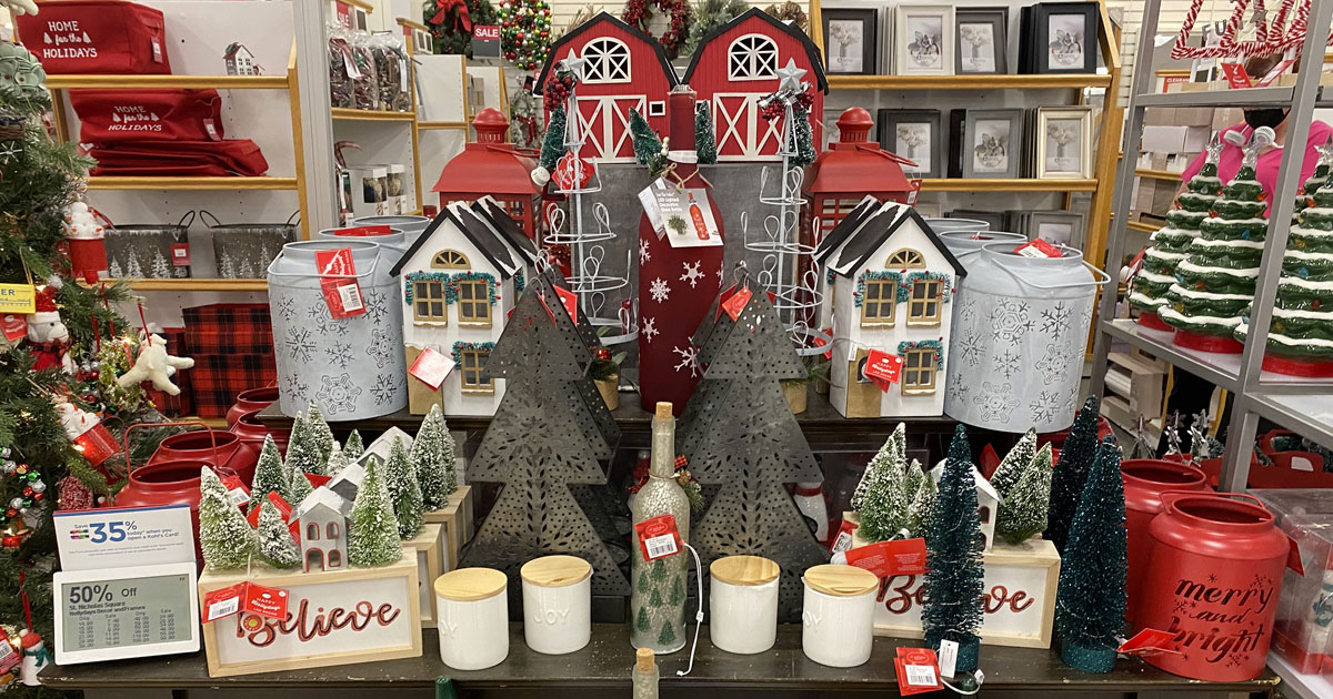 display table full of farmhouse themed christmas decor at kohls