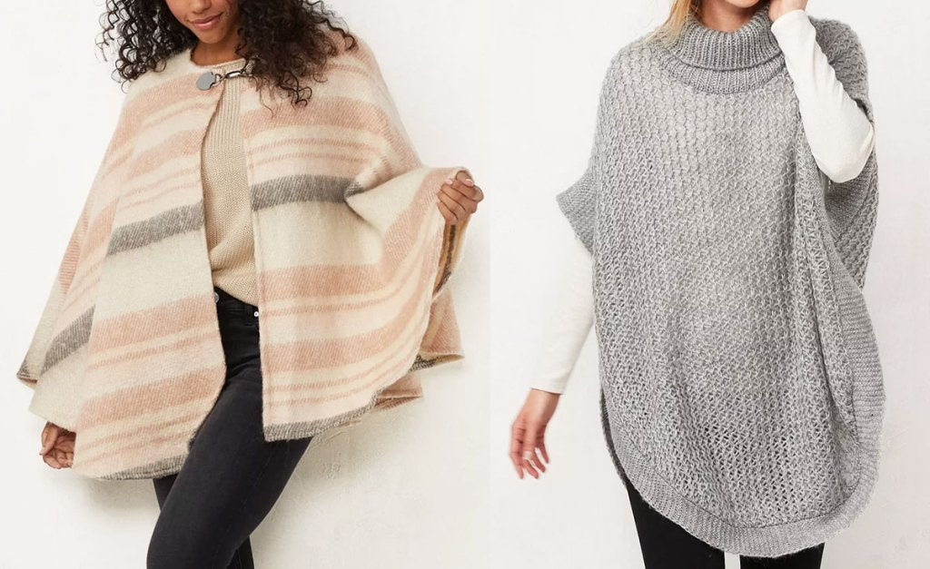 two women modeling ponchos in cream with light pink plaid and light grey knit