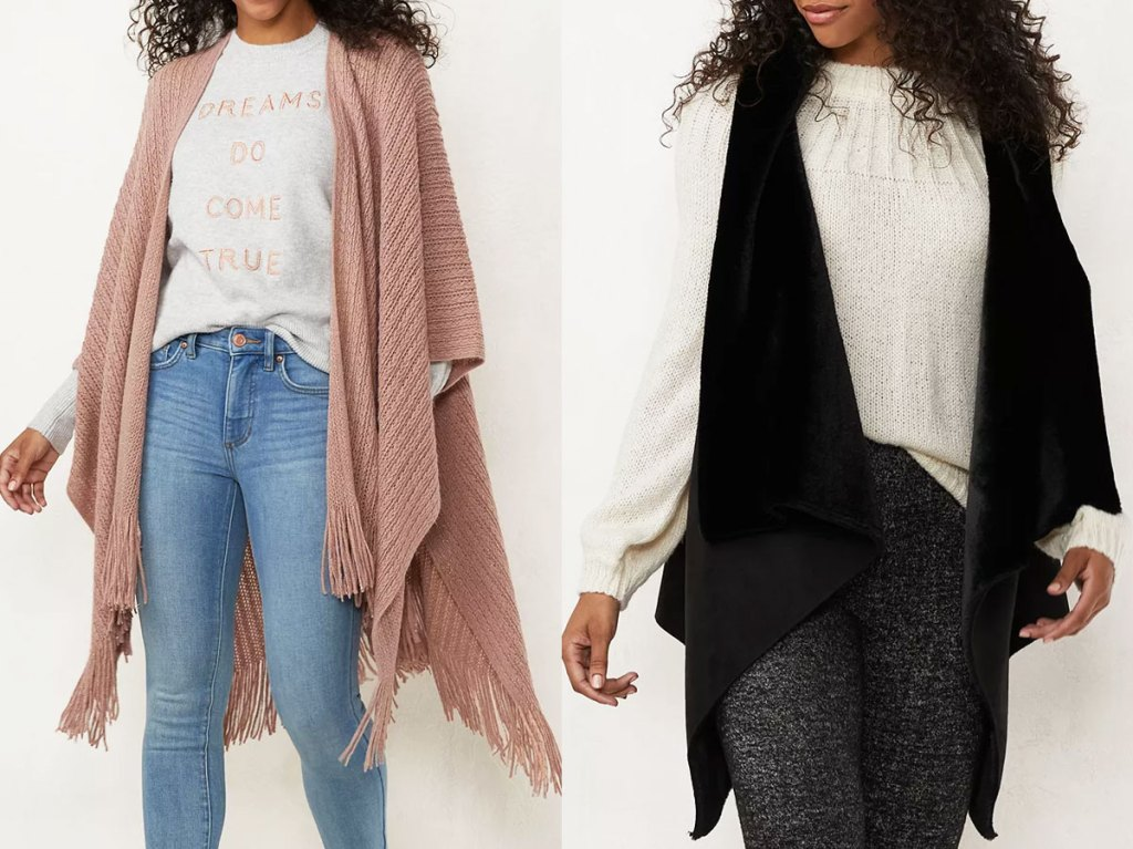 woman in jeans, white tee, and dusty pink knit wrap, and woman in jeans with white tee and black faux fur vest