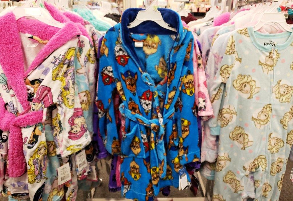 disney princess and paw patrol toddler robes on display at Kohl's
