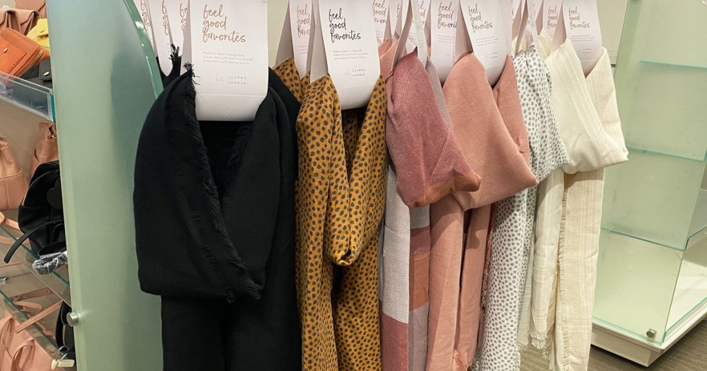 LC Lauren Conrad solid color and print scarves hanging on display at Kohl's