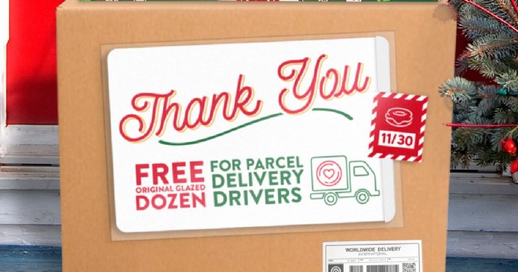 free dozen donut for delivery drivers at krispy kreme