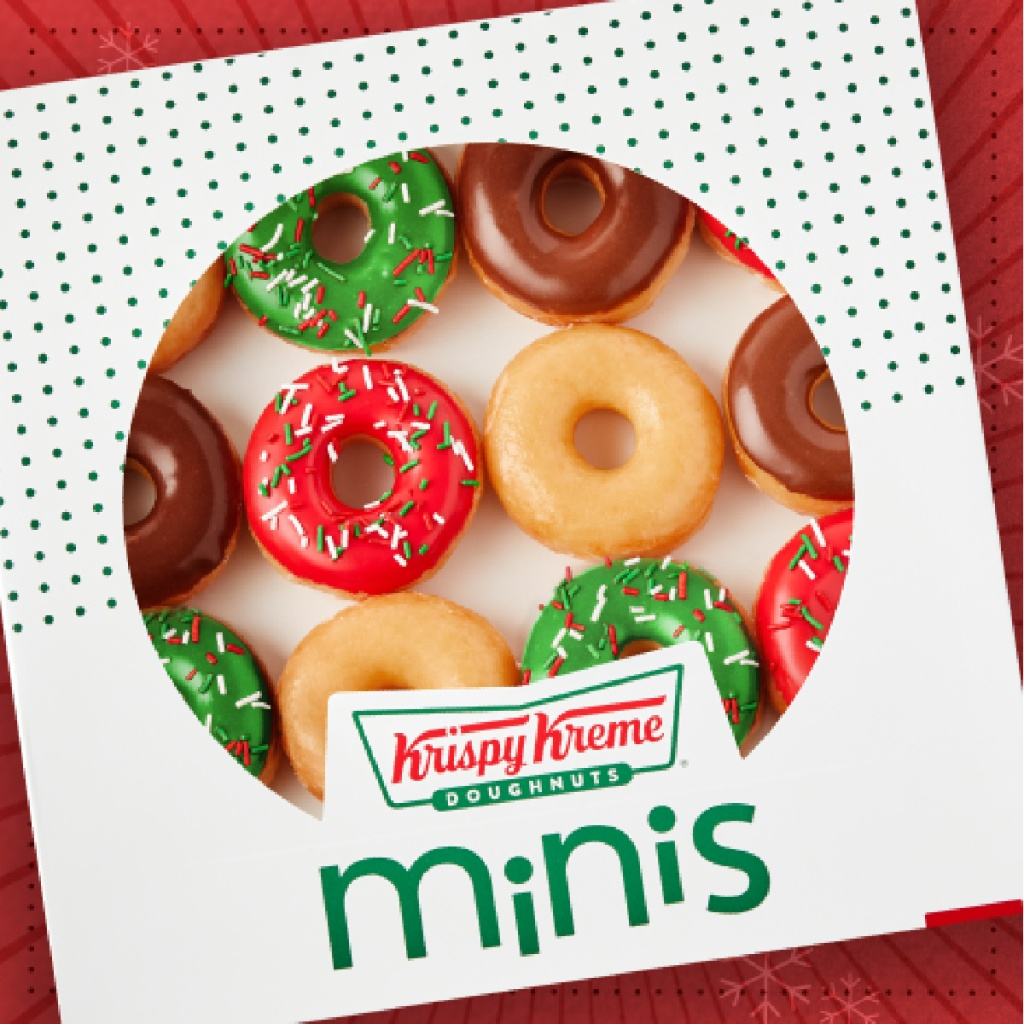 box of Krispy Kreme holiday Minis