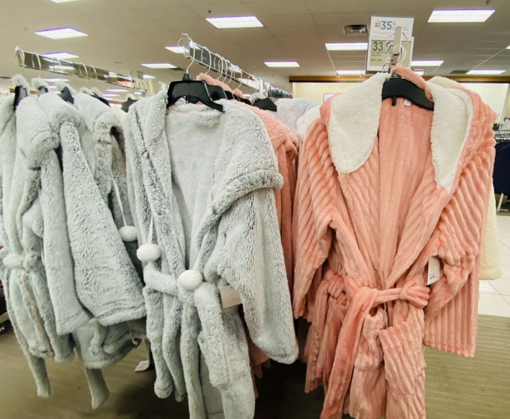 robes on hangers at Kohl's